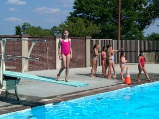 2012-07-14 Kaitlyn Diving Off Diving Board for 1st Time