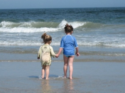 My favorite picture of the girls at the shore in 2009 (Kaitlyn (4); Skylar (2))
