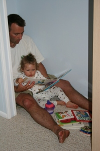 Reading in the closet on vacation in Avalon, NJ - 2006