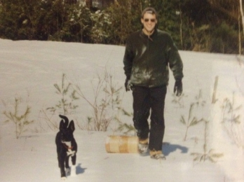 Tobogganing with Kokie in South Royalton, VT - February 1999